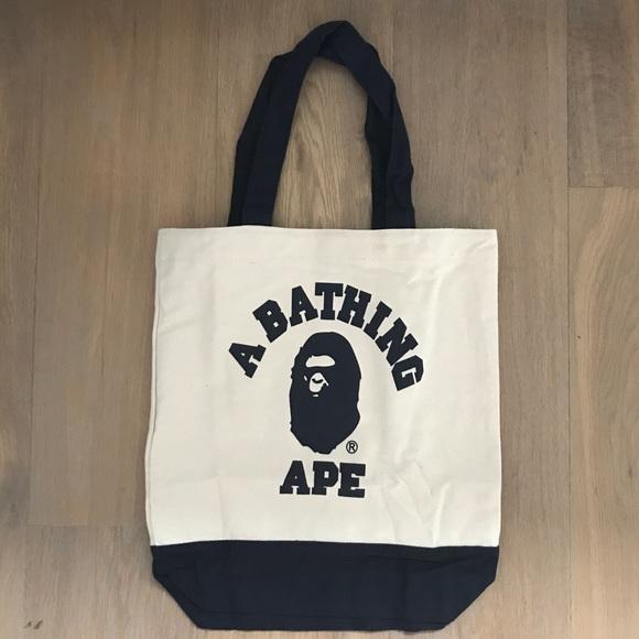dc77fb7628b9 A Bathing Ape Navy Beige Canvas Tote Bag